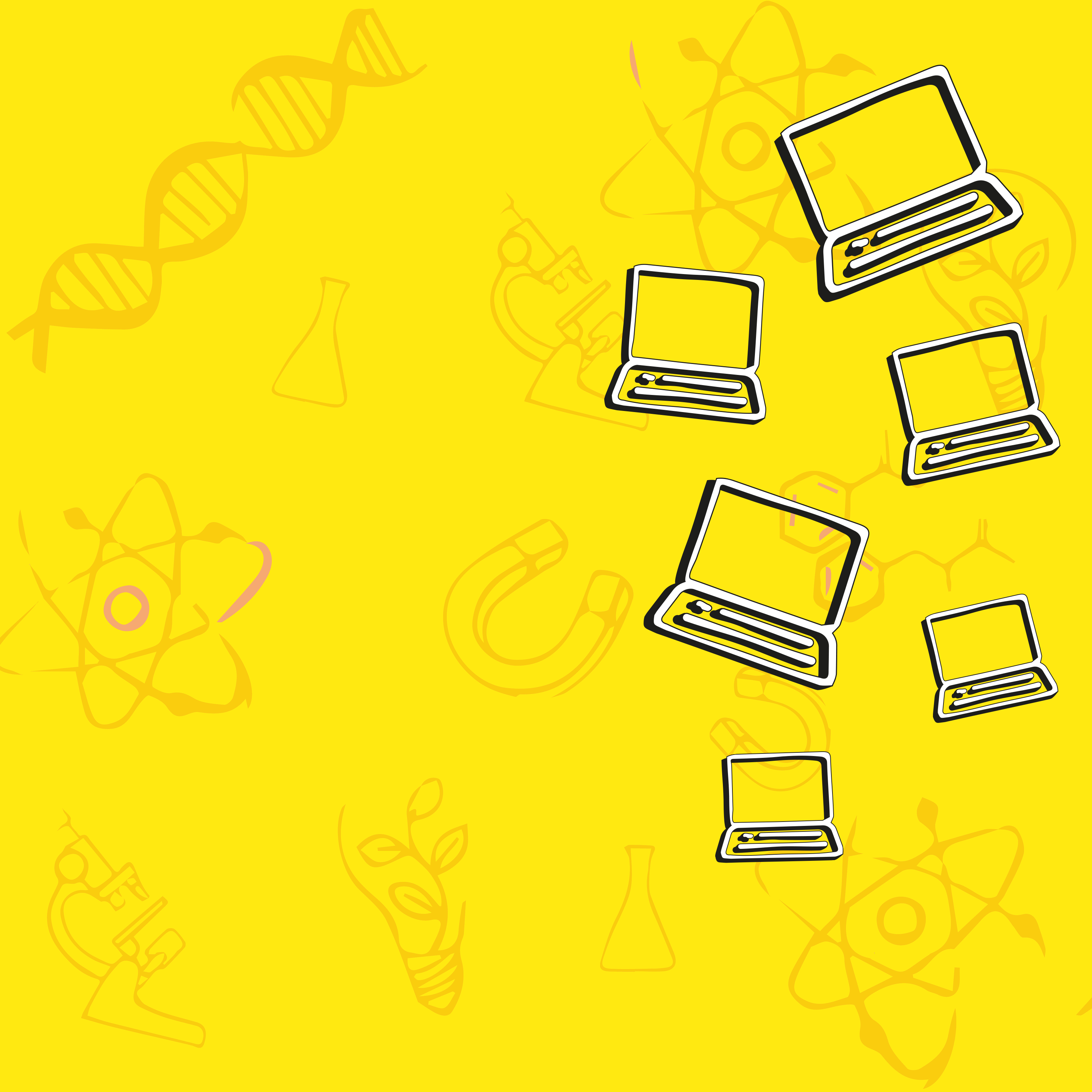 Yellow background with scientific shapes.
