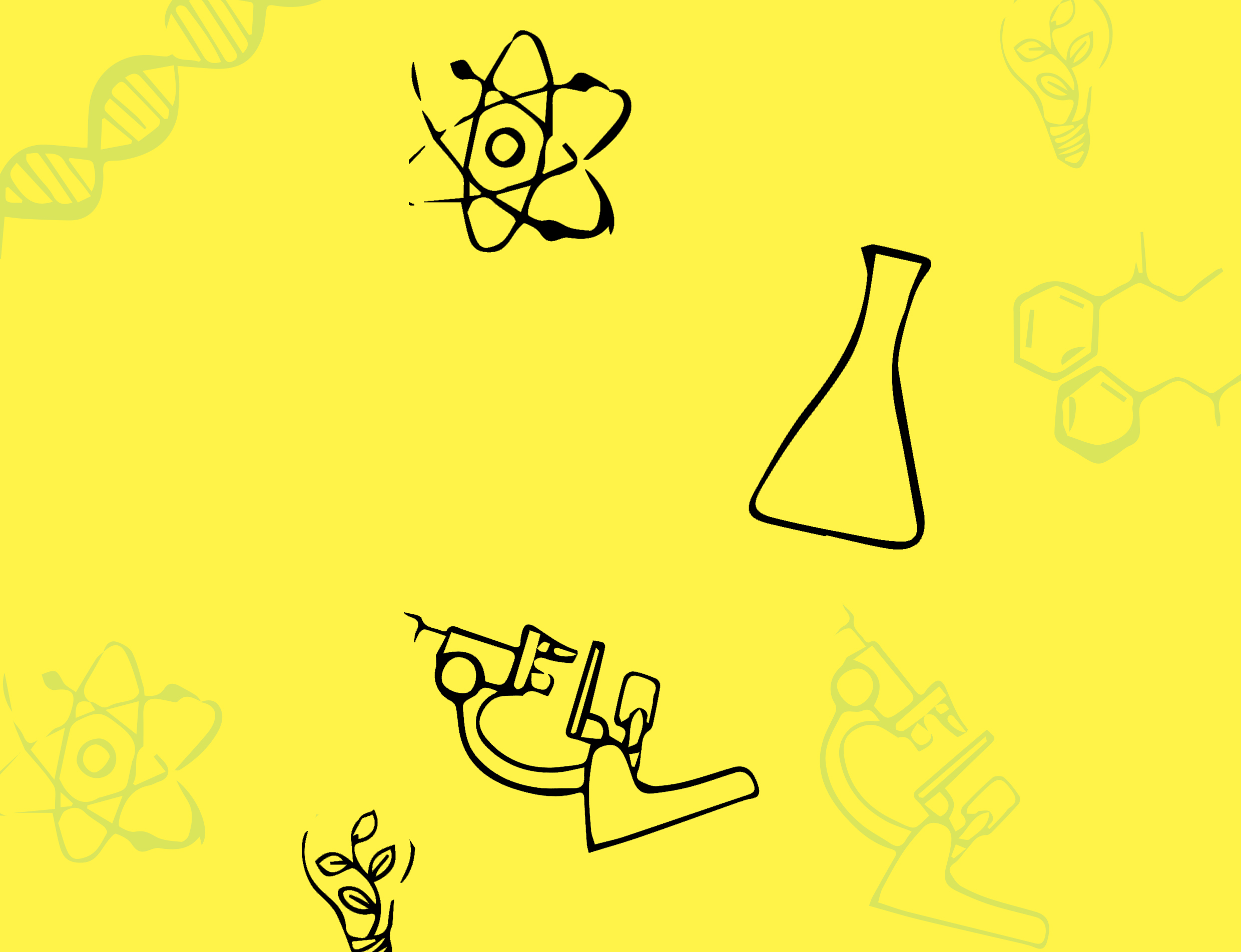 Background graphic with flasks, microscopes, magnets and bulbs.