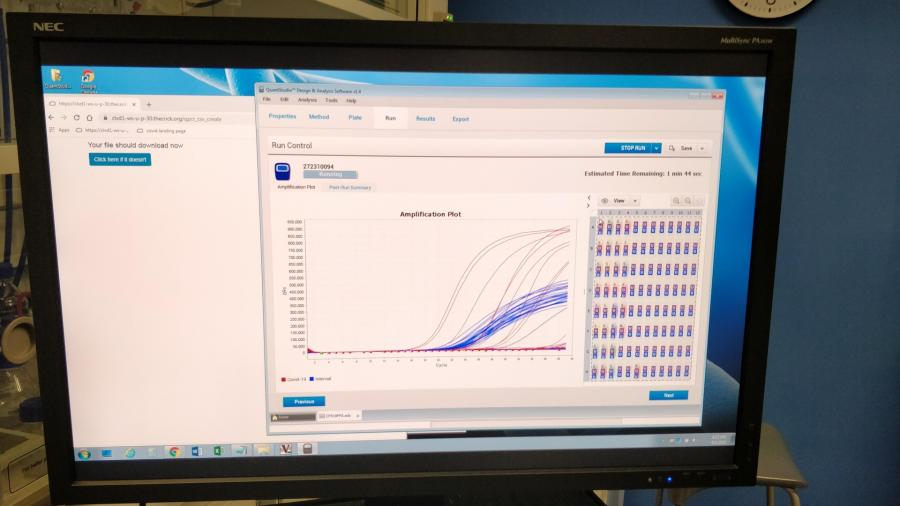 Screen showing results for sample testing.