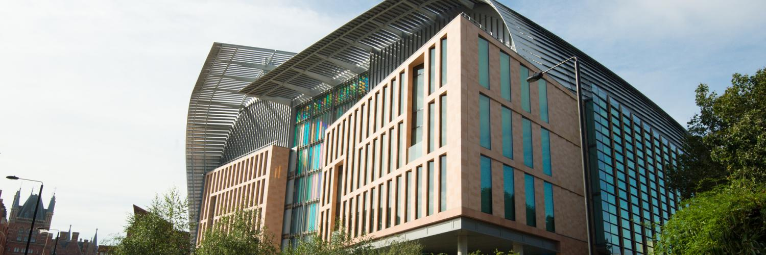 The East entrance to the Francis Crick Institute taken from an angle.