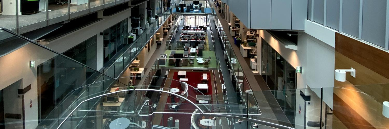 A picture of the inside of the Crick during the COVID-19 crisis, emptied of researchers.