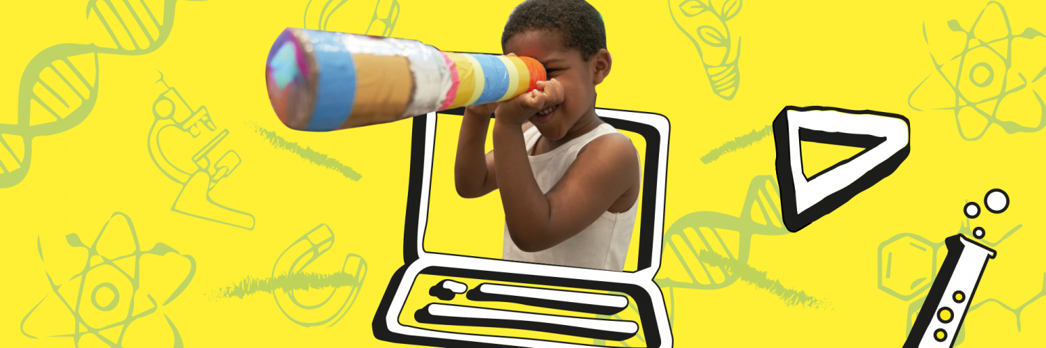 Graphic design for the Crick's family Discovery week, showing a child with a telescope.
