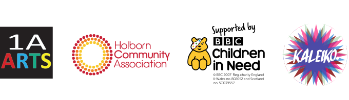 Logos of 1A Arts, Holborn Community Association, BBC Children in Need and Kaleiko.
