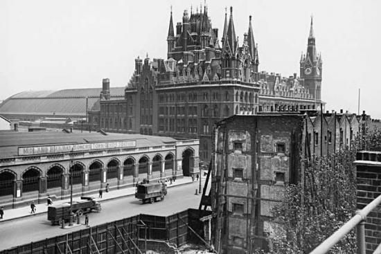 A view of the Somers Town Goods Yard and St Pancras from south of the Euston Road.