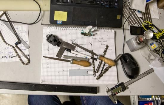 Engineering workbench, with a variety of tools visible