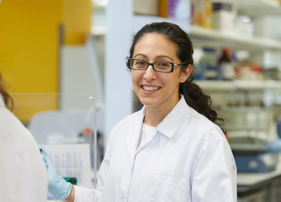 Crick group leader Kathy Niakan in the lab.