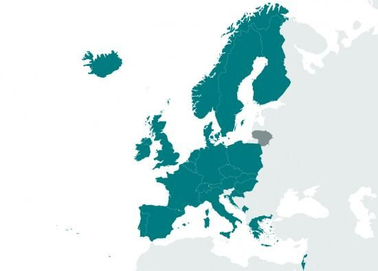 Map showing EMBL member states across Europe