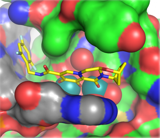 Image depicting the structure of the active site of the integrase enzyme bound with the drug bictegravir.