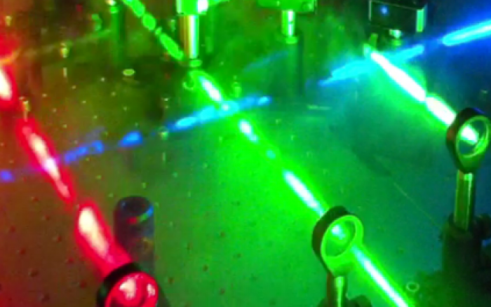 Multiple laser lines that are used for single-molecule TIRF (total-internal fluorescence) imaging