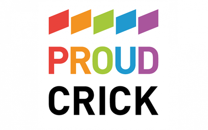 Logo for Proud Crick - the Crick's LGBT+ network.