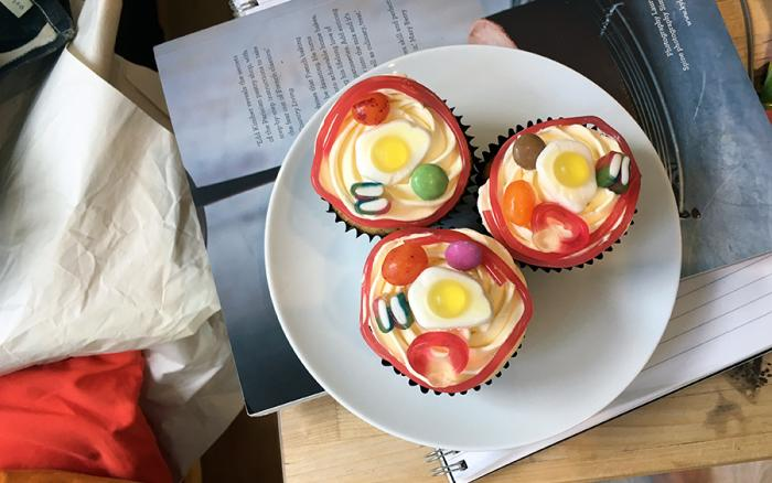 Cupcakes decorated to look like cells.