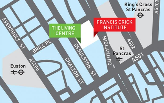 Map showing the location of the Living Centre at 2 Ossulston Street, by the Francis Crick Institute.